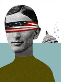American with a blindfold on and sinking Capitol building in water
