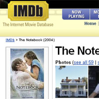 The Notebook page screenshot from IMDb
