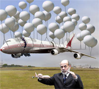 Bernanke trying to keep an airplane in the air with balloons