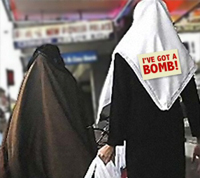 Islamic woman with an 'I Have a Bomb' sign on her back
