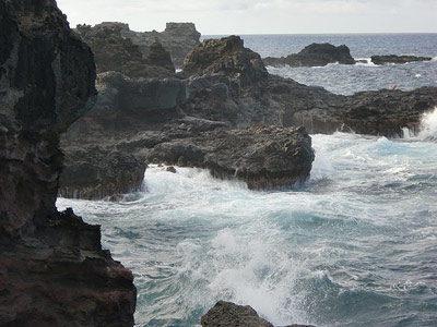 Jagged rocks on the Hawaiian coast