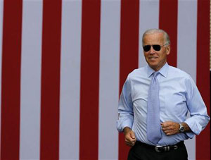 Joe Biden in front of the American flag