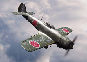 Kamikaze Japanese plane flying