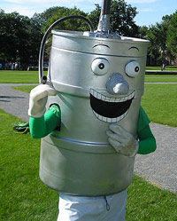 Keg costume with smiley face