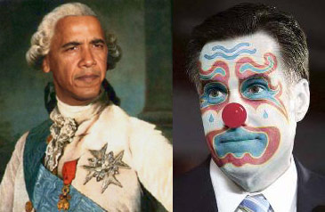 King Barack Obama and Clown Mitt Romney