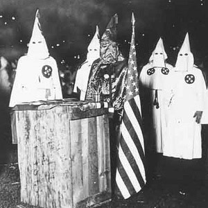 KKK Rally in black and white with robes