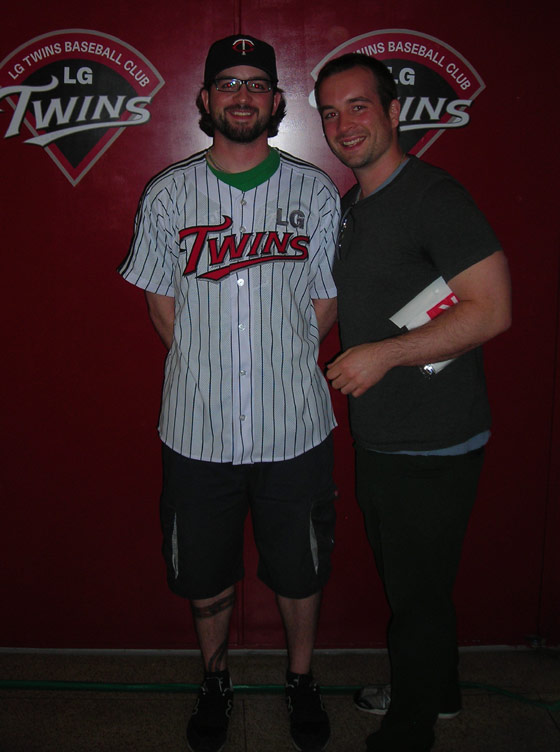 Kevin and Casey Freeman with LG Twins Korean baseball jersey