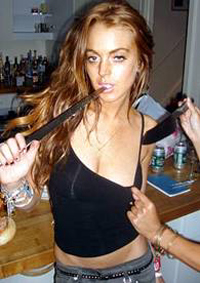 Lindsay Lohan with knives