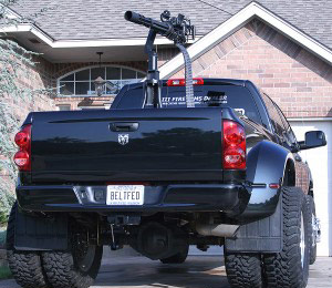 Machine gun mounted on the back of a pickup truck