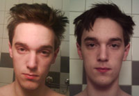 Man with two hair styles, just woke up and after a shower