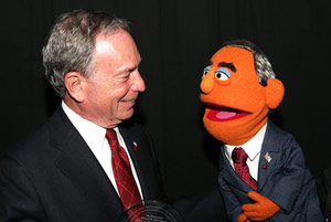 Mayor Bloomberg talking with a Muppet
