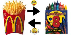 McDonald's fries and crayons