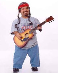 Midget guy playing the guitar