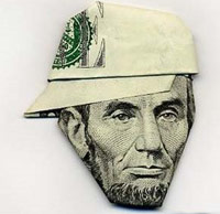 Abe Lincoln money origami
