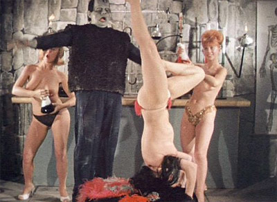 Frankenstein with 3 nude dancing girls