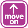 "Sign that says ""move on"" with arrow"
