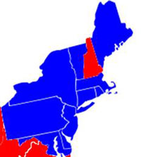 New Hampshire on a blue and red map.