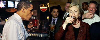 Barack Obama and Hillary Clinton drinking beers and shots