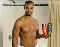 The Old Spice Guy in the shower