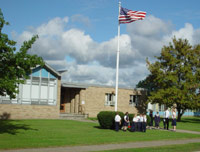 All-American elementary school with American flag