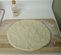 Pizza dough on a table