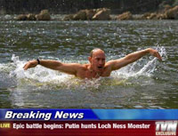 Putin swimming like a monster