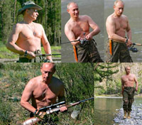 Putin without his shirt on in several poses outdoors