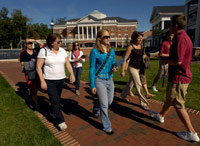 College quad tour group