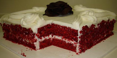 Red velvet sheet cake with white icing
