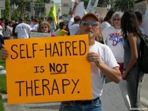 Self-hatred is not therapy protest sign