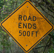 Road ends 500 feet sign