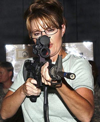 Sarah Palin firing a semi-automatic rifle