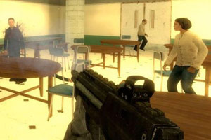 School shooting video game scene in classroom
