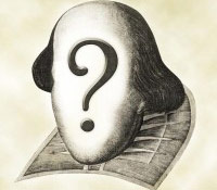 Shakespeare's face with a question mark on it