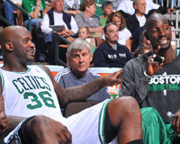 Shaq on the Celtics bench
