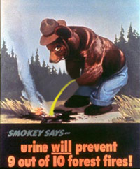 Smokey the Bear taking a piss