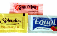 Equal, Splenda and Sweet 'n Low packets