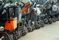 Strollers lined up