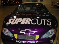 Supercuts logo on a NASCAR race car
