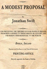 Jonathan swift a modest proposal book cover