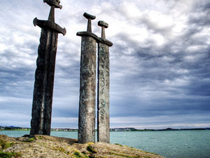 Sword sculptures on an island