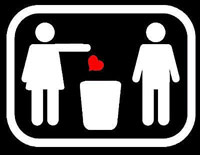 Throwing away a heart in the trash can sign