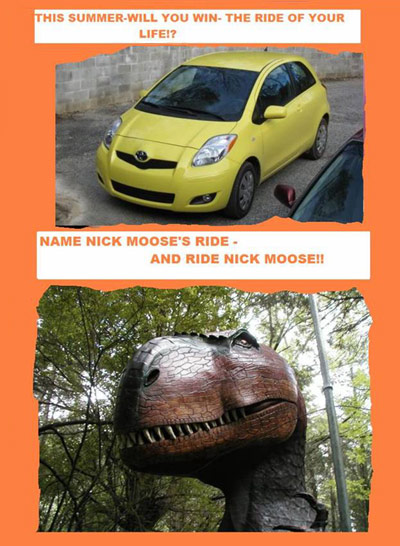 Toyota Yaris and T-Rex replica