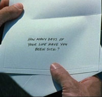 Bruce Willis opens a letter
