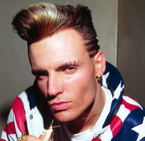 Vanilla Ice with spiked hair and rows