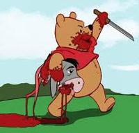 Winnie the Pooh carrying Ejore's head after he severed it with a knife