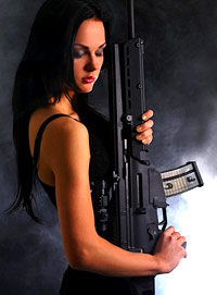 Woman with AK-47
