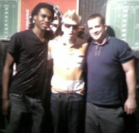 Xavier Holland, Paul Frank and Casey Freeman at a bar in NYC