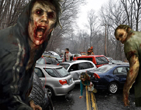 Zombies attacking wrecked cars