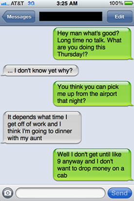 Airport pick up text message